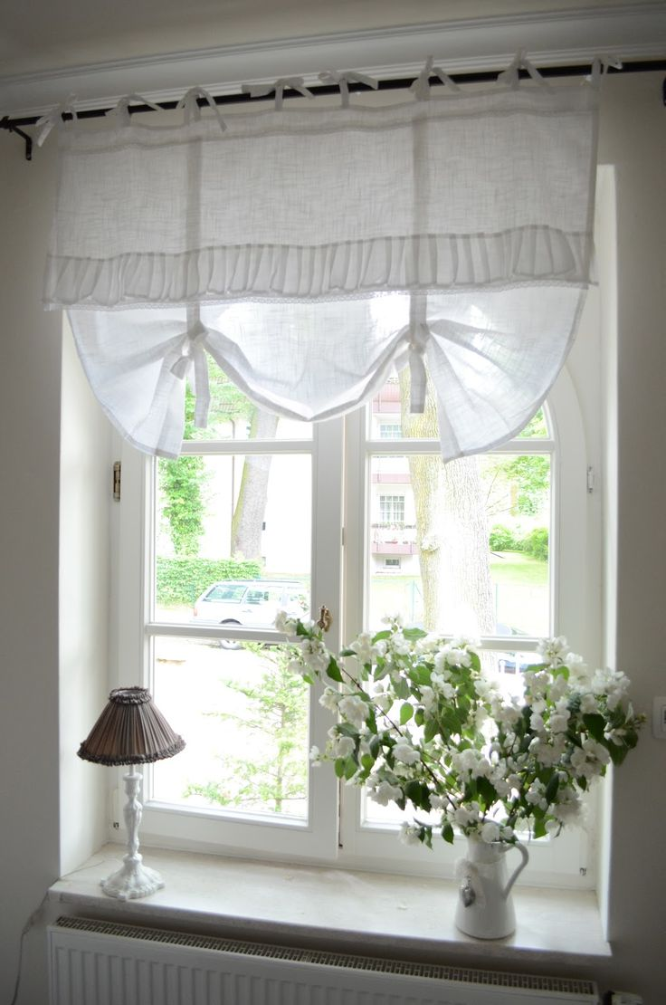 Amazing Cottage Style Windows With Fancy Window Treatment Of White Curtain Drapery Plus Wood Material