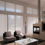 Amazing Frosted Window Covering For Sliding Glass Door In Living Room With Grey Sofa And White Coffee Table Before Fireplace