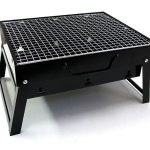 amazing modern home hibachi grill in rectangle style with plaid surface with four legs in black color