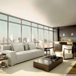 architecture interior design with large glass windows and loveseat sofa plus box wooden coffee table and end table plus table lamp with rug and wooden floor