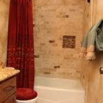 astonishing red shower curtin in captivating bathroom with best remodel with curvy metal rod and red toilet seat and rug plus white tub