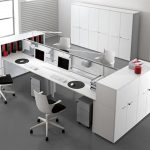 awesome black and white two sided desk design with modern unique swivel chair design with computer set and file storag with glass partition