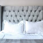 awesome light blue tufted freestanding headboard on white bedding idea with brilliant light blue table lamps and white pillows