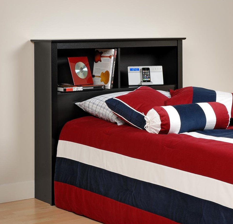 Freestanding headboard adds modular style for every single for Boys red and blue bedroom ideas