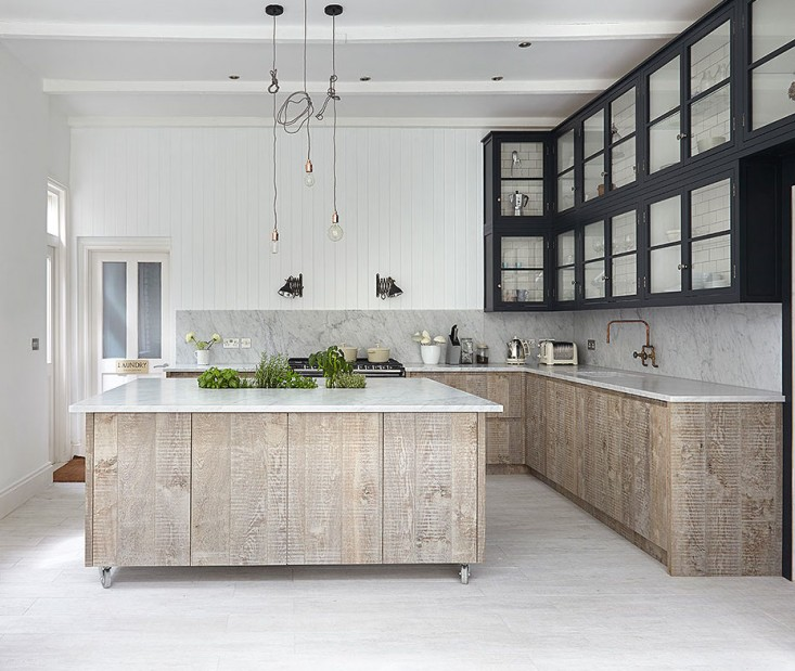 Industrial Meets Rustic In This Kitchen: White Washed Wood Floor Meets Home With Industrial Style