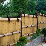 bamboo fence system with different height as the board of outdoor areas