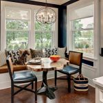 Banquette Seating Ideas With Build In Bench And Cushions With Pretty Wooden Table And Black Chairs Plus Chandeliers And Glass Windows