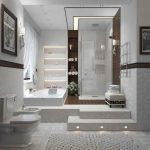 basement bathroom ideas in white scheme with bathtub and walk in shower plus storage and toilet plus stool and wall scones plus picture