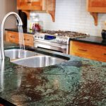 beautiful blue and black soapstone colors for kitchen island surface with double steel sinks and stainless steel faucet