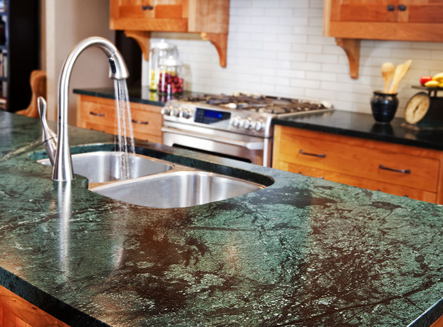 Beautiful Blue And Black Soapstone Colors For Kitchen Island Surface With Double Steel Sinks Stainless