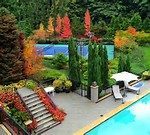 beautiful landscape design seattle with swimming pool and large patio accented with small cute bridge aside pine tress and pool chairs