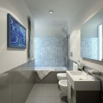 Beautiful White Bathroom Idea With Flashing Blue Diamond Mosaic Tiles Above The Modern Bathtub With Blue Pallete Before The Large Glass Wall Mirror And White Double Sinks Aside Toilet Seat