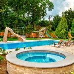 Best Backyard Pools In Rectangle Shape Combined With Round Sauna Plus Fun Playground Together With Lounge Pool Chairs And Garden Plus Wood Fence