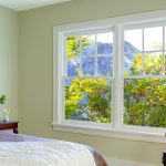 best energy efficient windows with double hung model and white wood frames in the bedroom