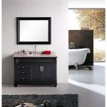 black 48 inch bathroom vanity with single sink and faucet and square mirrror with black frame a black fury carpet a white bathtub with sprayer stall and claw foot