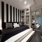 black and white bedroom ideas with strip wallpaper and display book shelves and bed plus closet with mirror and hang ceiling lamp and nightstand