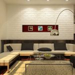 black and white brick wall white brick for interior in living room with modern white sofa and black cushions plus glass coffee table and luxury stand lamps plus floral rug