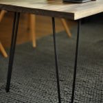 blacken-finish hairpin legs table with wood surface gray basket carpet
