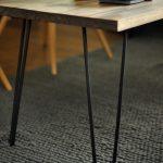 Blacken Finish Hairpin Legs Table With Wood Surface Gray Basket Carpet