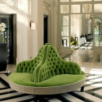 bright green three conversation round settee chair