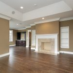 brown interior exterior painting with wooden floor fireplace plus wooden shelf storage