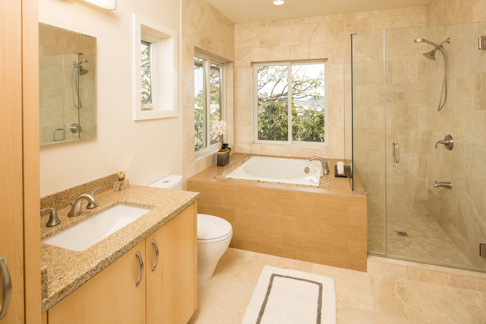 Built In Anese Porcelain Tub With Wood Base Modern And Minimalist Bathroom Vanity Marble Top