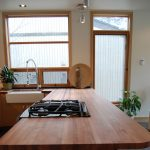 butcher block kitchen counter a set of gas stove and wide square sink plus stainless steel faucet