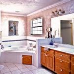 chic neutral wall paint color in winsome bathroom best remodel with frosted glass shower and corner hot tub and enchanting vanity sets