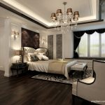 classic chandelier in spacious bedroom with wooden floor and white bedding set with tufted freestanding headboard and unique ceiling lamps