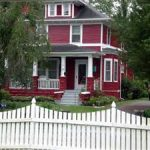Classic House Design Remodeled With Red Painted Ideas Blended Fresh Outdoor Garden