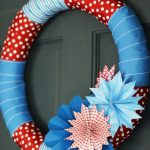 colorful ribbons wreath idea with decorative paper folding