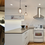 condo small kitchen remodel before and after with new color cabinets and backsplash plus lighting and new countertop and wood floor