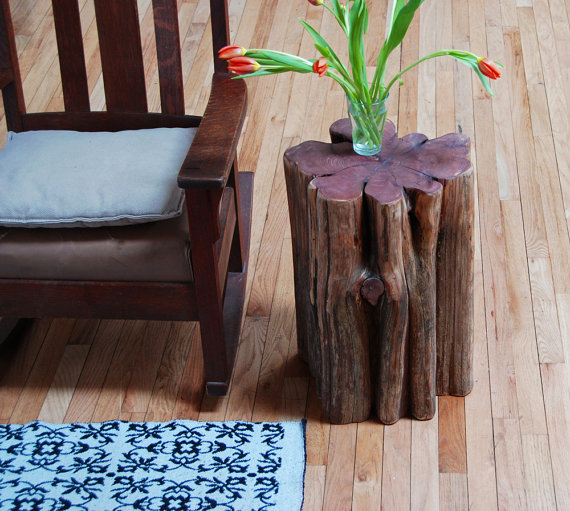 Tree Trunk Side Table: Contribute Immense Natural Accent