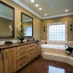 cool bathroom remodelin with stunning double bathroom vanity unit plus mirror and vase combined with bathtub and candle holders and LED lighting