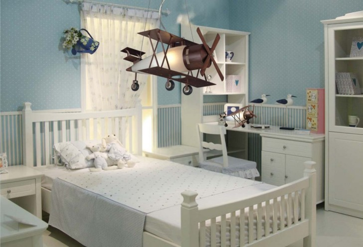 Modern Attractive Airplane Light Fixture Concept For Kids Room