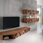 cool floating wood media center with large and flat TV screen two floating wood storage