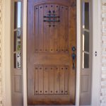 cool single front door design with dark wood material and glass wood window on top and sides