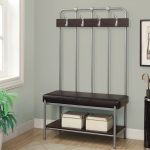 corner  black leather bench with  kits for hanging stuffs  and under shellf in main entrance