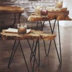 creative log-cut hairpin legs with decorative glasses as candle-stand