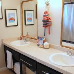 cute bathroom ideas with bathroom vanity units with drawers and double sinks plus mirror with frame and cute arts