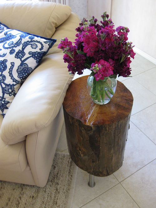 Wood Stump Side Table Add Stunning And Rustic Look To A