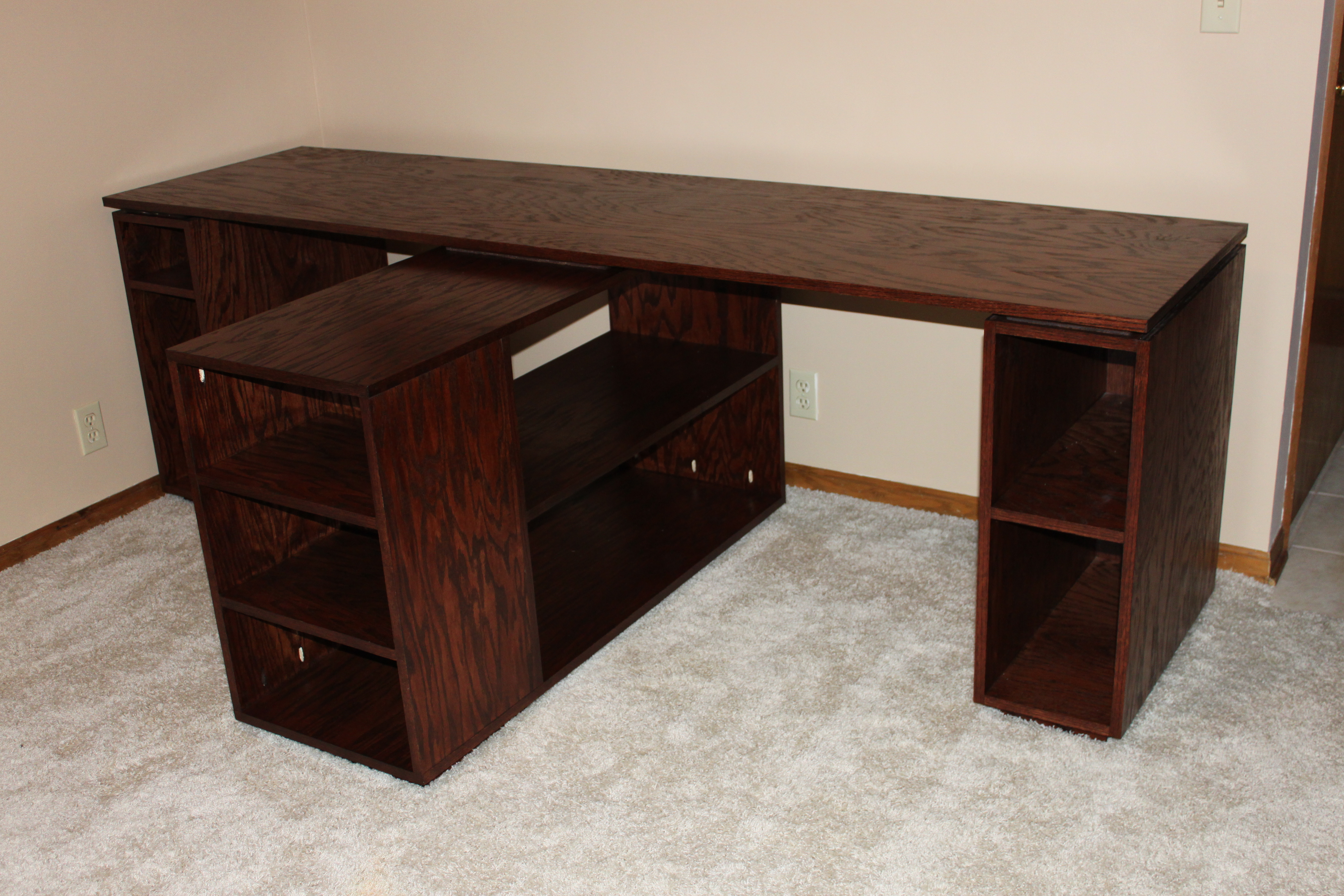 Dark Wood Finish Desk For Two Persons With Open File Shelves