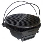 easy to care home hibachi grill design in round model with curve handles in black color