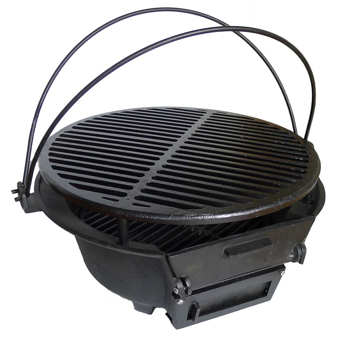 Easy To Care Home Hibachi Grill Design In Round Model With Curve Handles Black Color