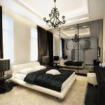 Elegant Black And White Bedroom Ideas With Panel Bed And Round Nightstands With Table Lamps And Beautiful Ceiling Lamps And Side Table Plus Rug And Large Mirror And Tv On Wall