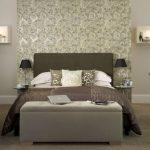 elegant floor standing headboard for king bed handless settee furniture in grey color floating book shelves