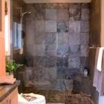 exquiiste stone tile flooring styke in eccentric small bathroom design with stupendous walk showers ideas