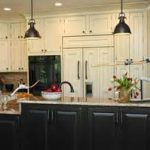 fetching black two tiers kitchen island under industrial pendant lamp from kitchen remodeling orange county with massive white cabinet