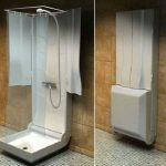 folding shower space with folding head shower
