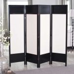 four panels Ikea wall divider in black frame